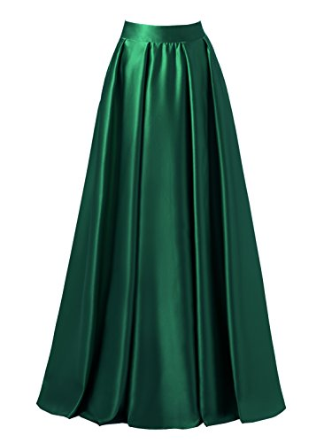 emondora Women High Waist Elastic Satin Flared Swing Maxi Skirt Pleat Prom Gown Dark Green Size S - Long Skirt Pleats Skirt