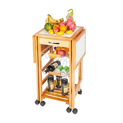 Portable Rolling Drop Leaf Kitchen Storage Trolley Cart Island White Tile Top Folding Trolley Table with 1 Wood Drawer & 2 Steel Baskets Sapele Color