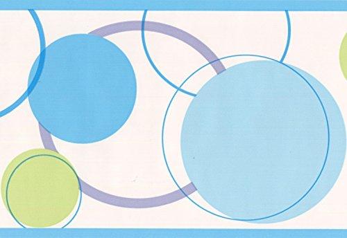 Blue Green Circles Abstract White Wallpaper Border Modern Design, Roll 15' x 7''