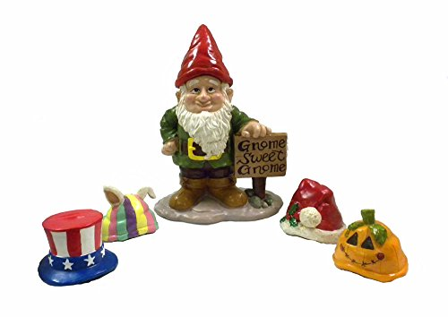 Gnome Greeter Garden Statue W/ Hat Assortment Sculpture -