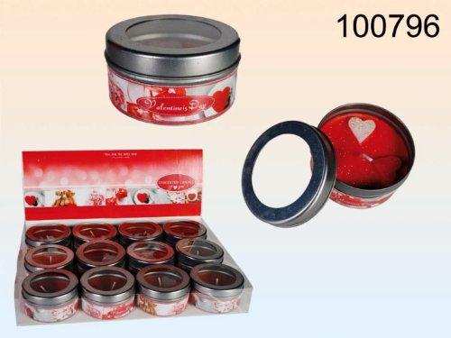 Rote Dosenkerze mit Herz - drei Herzen mit Goldglitter ca. 6x3 cm zum Valentinstag zum Geburtstag zum Ich liebe Dich Diner zum Picknick oder einfach so ...