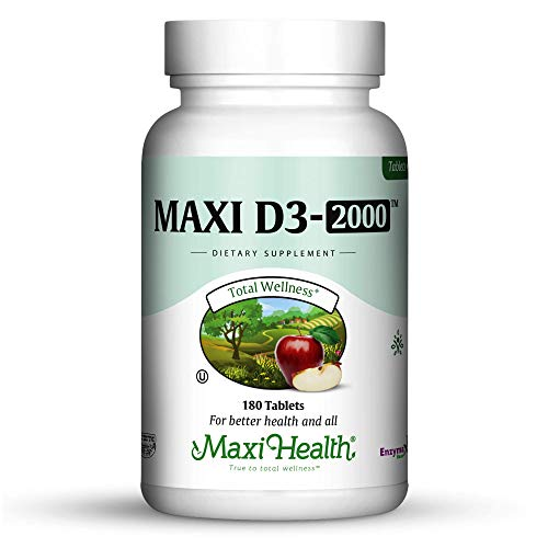 "Maxi Health Natural Vitamin D3 -""2000 IU"", Nutrition Supplement, 180 Tablets, Kosher Review"
