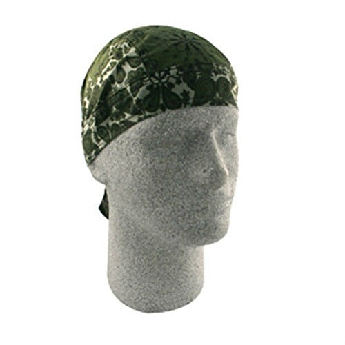 Two Tone Paisley Olive Khaki Doo Rag Headwrap Skull Cap Biker Durag Liner by ZIZI SPORTS SUPPLY