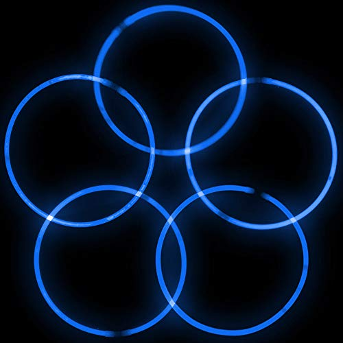 Lumistick Premium 22 Inch Glow Stick Necklaces with Connectors | Kid Safe Non-Toxic Glowstick Necklaces Party Pack | Available in Bulk and Color Varieties | Lasts 12 Hours (Blue, 600) by Lumistick (Image #4)