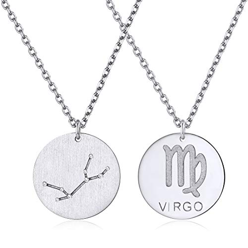 Virgo Sign - Constellation Necklace Pendant 925 Sterling Silver Round Disc Astrology Horoscope Zodiac Sign Pendant - Virgo
