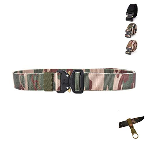 - DarkForest T2 W1.5xL49 Inch Military Style Breathable Strong Nylon Web Belt Quick-Release Flat Buckle Tactical Waist Belts Men (Jungle-camo)