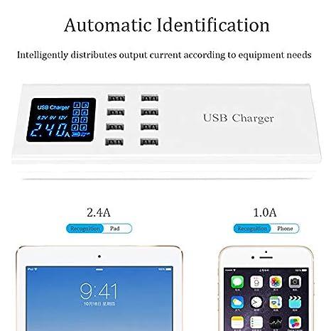 WZHESS Cargador inalámbrico USB Inteligente, 8 Puertos USB ...
