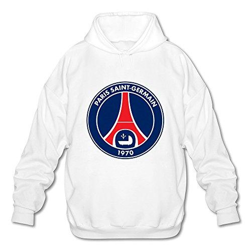 Men's Paris Saint Germain Fc Logo Long Sleeve Hoodies Sweatshirt White Size XXL New Arrival By Rahk
