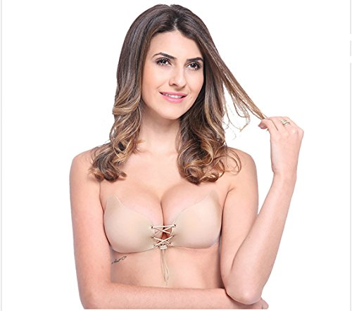 Women's Backless Strapless Adhesive Invisible Push up Bras (Beige) - 1