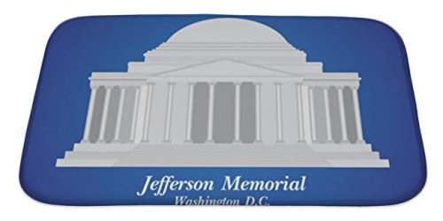 Gear New Memory Foam Bath Rug, Jefferson Memorial Detailed Illustration, 34x21, - Carolina Mall Place Directions