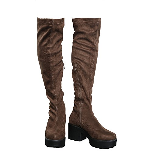 Block Platform MID Knee Boots 10 Stretch up Kids COLLECTION 5 CORE Heel Womens Girls Zip Over Khaki The Size a0wY6qz