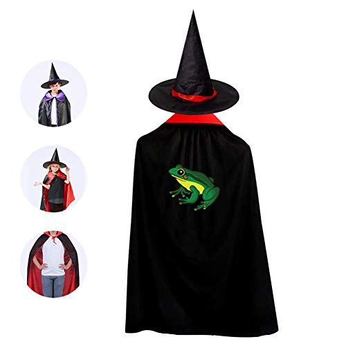 (Cartoon Frog Cosplay Cloak Wizard Witch Cape Pointy Cap Reversible Long Tippet For Kid Halloween Party Prop)