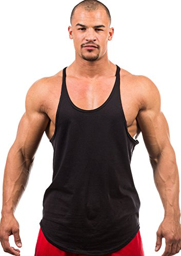 Cotton Stringer Tank Top - Iwearit Stringer Tank-Top (Blk-XXL) MADE in USA