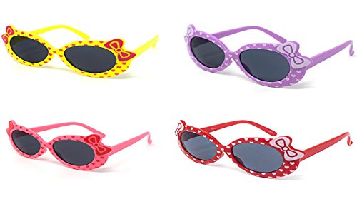 1 Purple 1 Red 1 Pink 1 Yellow Coloured Childrens Kids Girls Stylish Cute Designer Style Sunglasses with a Bow and heart Style UV400 Sunglasses Shades UVA UVB - Uk Eyelevel Sunglasses