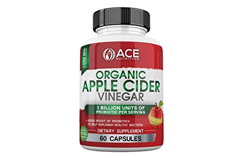 ACE Nutrition Organic Apple Cider Vinegar Capsules (1000 mg) with Probiotics (1 Billion Units) | Natural Detox and Weight Loss Supplements | Cayenne Pepper | Non-GMO, Gluten Free