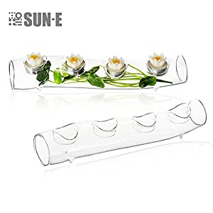 Clear Glass S-Shape Centerpiece Tea Light Candle Holder Set by SUN-E