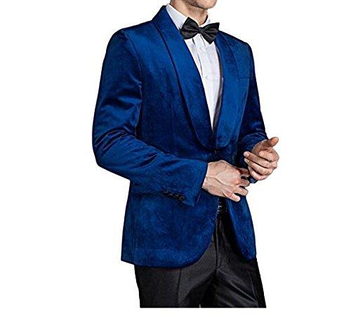 Amazon.com: Botong Royal azul chal solapa hombre traje negro ...