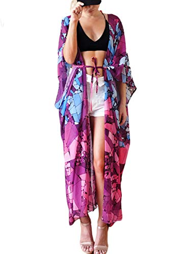 Women's Beach Cover Up Sheer Chiffon Broad Sleeves Kimono Cardigan Colorblock Top Blouse Robe Beach Dress (One Size, 45552)