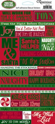 Reminisce 4-1/2 Inch by 10-1/4 Inch Candy Cane Christmas Glitter Sticker Sheet, Quote (Glitter Reminisce Christmas)