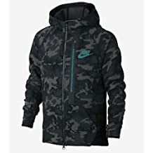 Nike Youth Boys Tech Fleece Allover Print Full-Zip Hoodie Camo Green