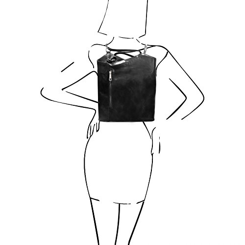 en en Mochila Amarillo Negro Tuscany de Patty señora Leather Bolso TL141497 Convertible Piel aqxHUX8x