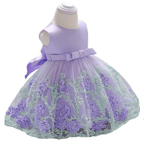 - Vicokity Newborn Toddler Baby Girls Dress Tulle Wedding Flower Girl Dress Floral Bowknot Princess Birthday Dress(Lavender, 5-6 Years)
