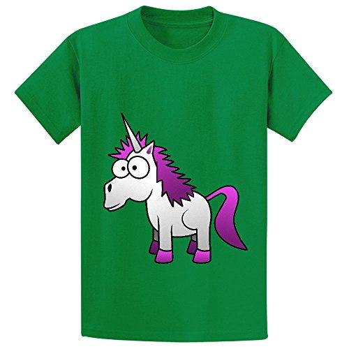 Andy Unicorn Cute Teen Crew Neck Print Tees Green