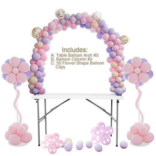 (Table Balloon Arch Kit, Balloon Column Stand Kit Bundle, Best for Birthday, Wedding, Graduation and Christmas. Balloons Not)