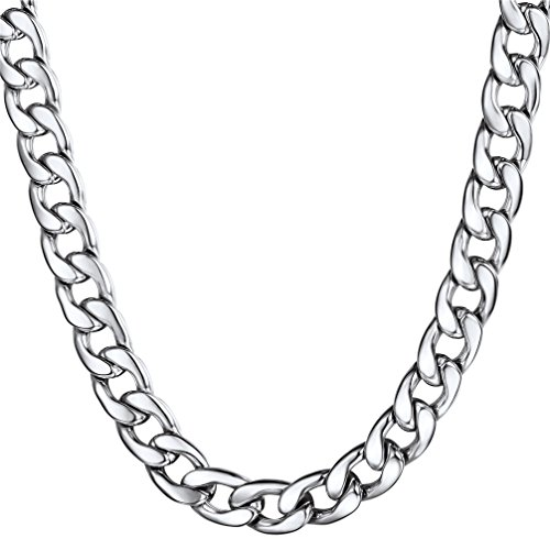 U7 12mm Wide Thick Stainless Steel Cuban Curb Chain Necklace for Men 24'' by U7