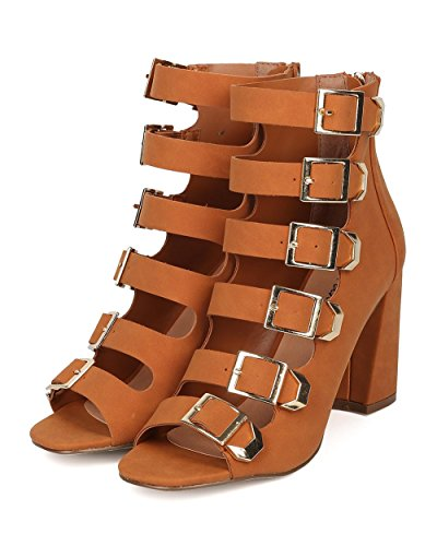 Sandals Pump Collection Breckelles Buckled by Caged 21 High Heel Women Block Heel Pump Tan Chunky Ali Strappy Peep Top wxFqZwR