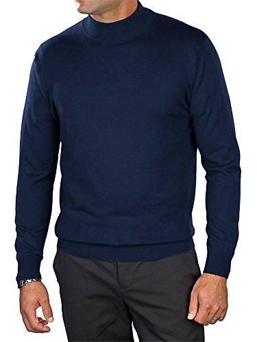 Paul Fredrick Men's Silk, Cotton, \ Cashmere Mock Neck Sweater Navy Xl