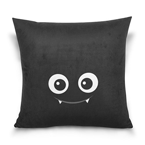 Square Decorative Throw Pillow Case Cushion Cover,,Happy Halloween Cute Ghost Spooky Cemetery Bat Pumpkin Witch Spiderweb,,Soft (Cute Halloween Paintings)