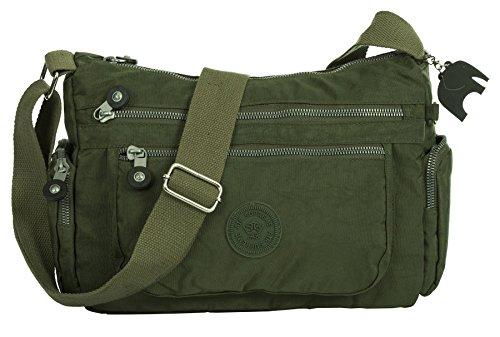 Army Green Pockets Womens Bag Zip Shop Big Body Fabric Handbag Lightweight Small Shoulder Cross Messenger Medium Wq1AT6BH
