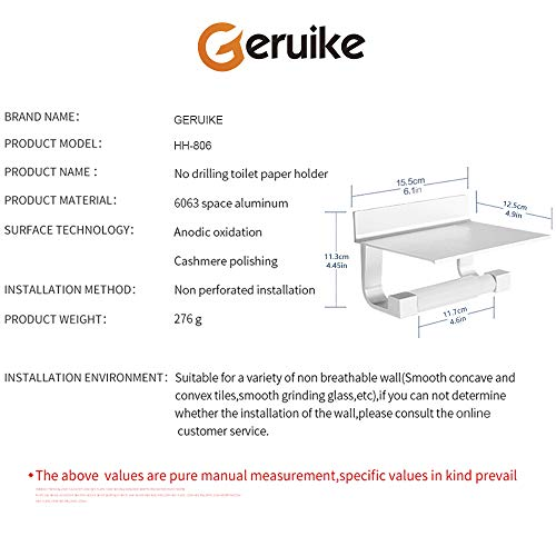 GERUIKE Toilet Paper Holder Wall Mount Self Adhesive Rustproof Tissue Roll Holder with Shelf Aluminum by GERUIKE (Image #3)
