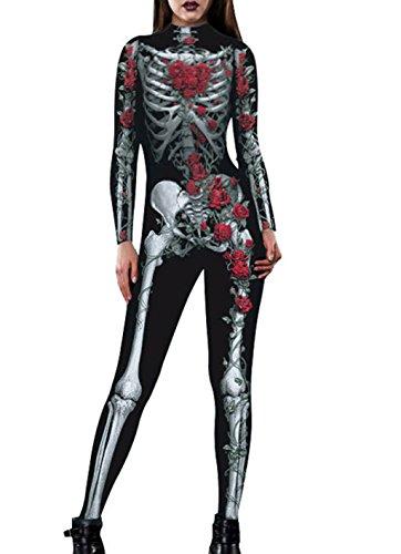 Full Body Jumpsuit for Women Leotard Bodysuit Shapewear Catsuit Rose Black L ()