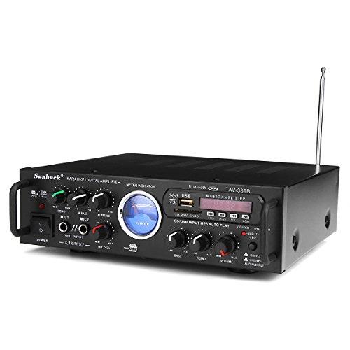 Steroe Amplifier - Bluetooth Wireless Stero Amplifier - Sunbuck TAV-339B 110V Bluetooth 600w Karaoke Power Stero Amplifier With Meter 2 Ch USB (Car Stero Amplifiers)
