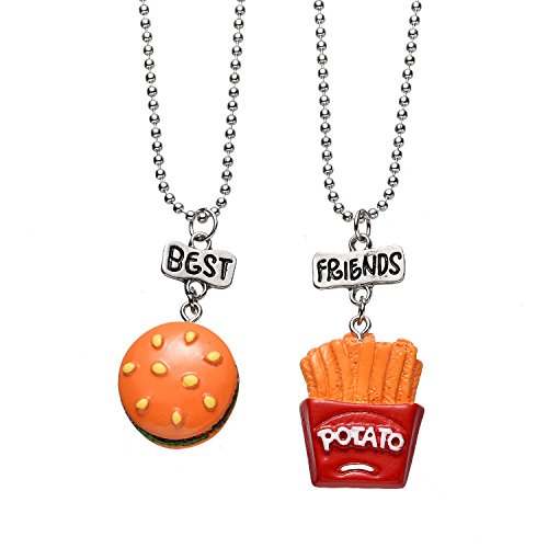 Pibupibu 2 Packs Best Friends Kids Children Resin Pendant Necklace (Burgers Fries)