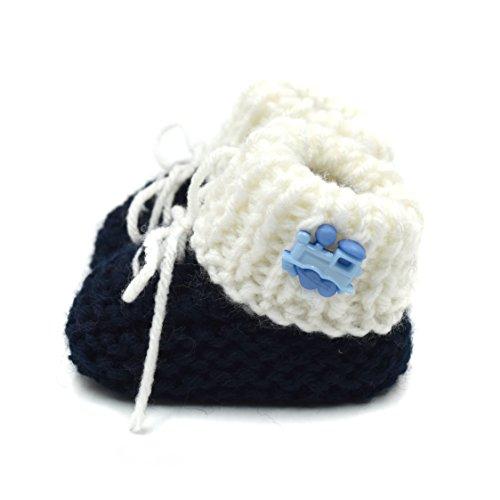 Hand Knit Booties - Magic Needles Hand Knit Crochet Turkish Yarn Baby Booties - 4030 (0-6 mths Toe to Heel 11 cms) Navy Blue/White