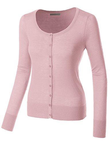 LE3NO Womens Lightweight Round Neck Fine Knit Cardigan Sweater With Stretch by LE3NO (Image #1)
