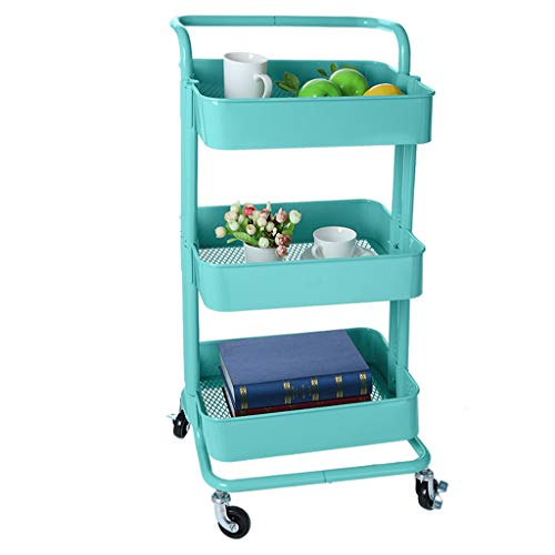 3-Tier Metal Rolling Utility Cart - Fheaven Heavy Duty Mobile Storage Organizer Handles Shelves Storage (Blue)