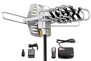 ViewTV Outdoor Amplified Antenna - 150 Miles Range - 360° Rotation - Wireless Remote