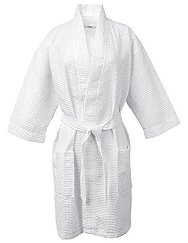 Lightweight Waffle Kimono Robe Short Waffle Kimono Bathrobe Spa Robe Cover Up (Short: XXL Size, Pure White) by eLuxury