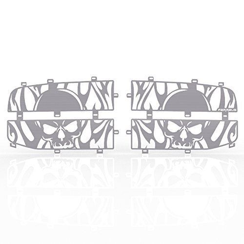 Ferreus Industries Grille Insert Guard Skull Flame Brushed Stainless fits: 2006-2008 Dodge Ram 1500 TRK-115-10-Brushed-a
