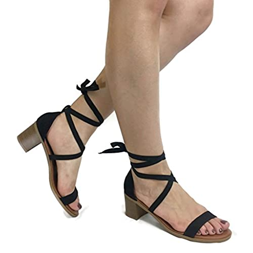 8407688cb4bef cheap Women's Basic Casual Dressy Gladiator Ankle Wrap Lace-Up Summer  Sandal Heels