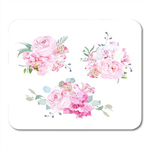 (HZMJPAD Gentle Mix of Pink Bouquets Rose Alstroemeria Lily White Peony Hydrangea Eucalyptus Plants and HerbsSupplies Mouse Pad 8.6 X 7.1)
