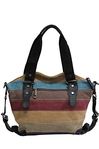 Black 125 Bag Shopper Bag Hobo Striped Jx Shoulder Canvas Women Canvas Handbag Multicolor xqHvBBwUa