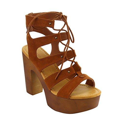 BAMBOO Studded Strappy Platform Sandals