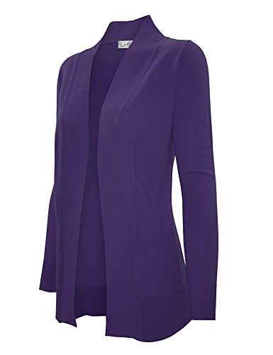 Front Pocket Cardigan - CIELO Women's Solid Basic Open Front Pockets Knit Sweater Cardigan Purple L