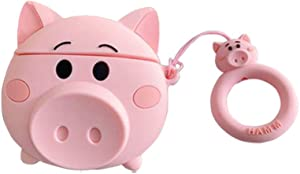 3D Cartoon Airpod Case Pig for Apple Airpods 1&2,Cute 3D Funny Cartoon Animal Pig Soft Silicone Catalyst Cover,Kawaii Fun Cool Keychain Design Skin,Fashion Cases for Girls Kids Boys Air pods (Pig)