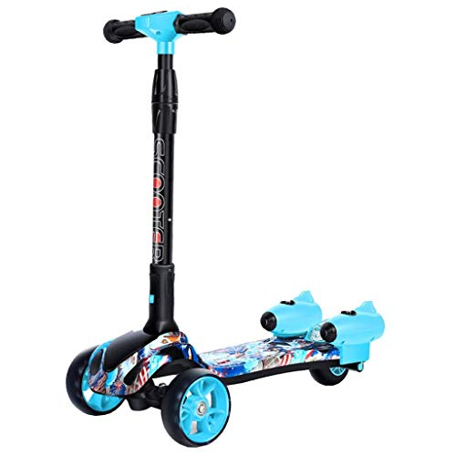 ZAIHW Kick Scooter for Kids Toddler Scooters 3 Wheels T Bar Adjustable Height Handle Scooter PU Flashing Wheels Wide Deck Foldable Scooters for Child Boys Girls from 3 to 12 Year Old (Color : Blue)